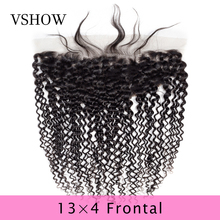 100% Human Hair Extensions Kinky Curly Lace Frontal Closure 13*4 Lace Closure Remy 8-20 Inch Natural Color VSHOW Hair Products стоимость
