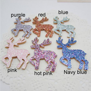30pcs 3x5cm Gliter Deer Padded Appliques For Headdress Accessories Appliqued and Clothes Sewing Decoration patches