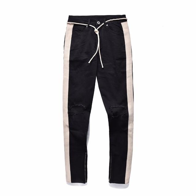 Beige Tape Stripe Ripped Biker Jeans Kanye West Zipped Ankles Low Waist Skinny Jeans Free Shipping