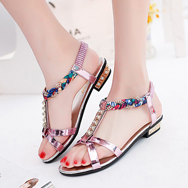 7313899904df68 2016 New Rhinestone Style Peep Toe Square Women Sandals Brand Designer Flat  shoes Sexy wedding Sandals shoes Gold Red Sliver 2.0
