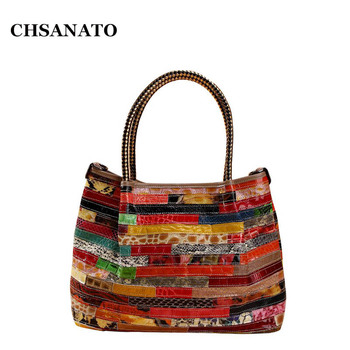 CHSANATO Hot Patent Leather Women Tote Handbag Ladies Purses And Handbags Snake Pattern Large Colorful Shoulder Bag