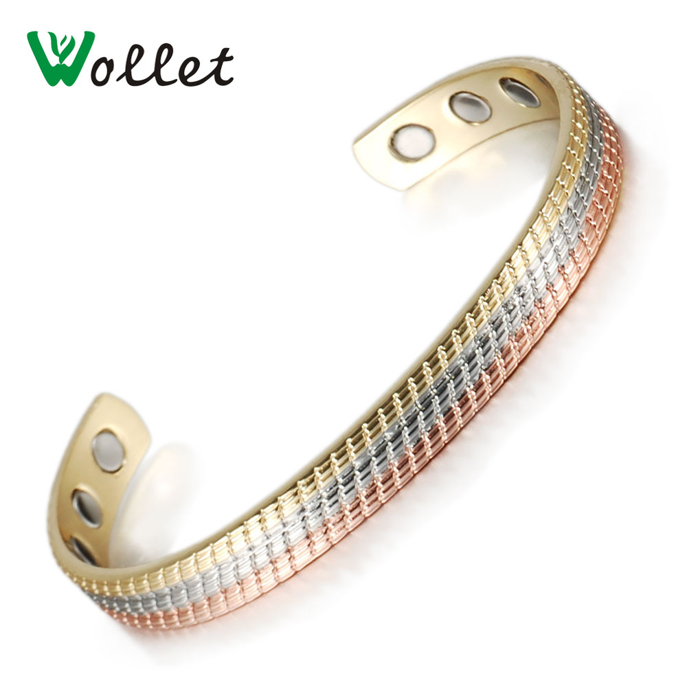 Wollet Jewelry Pure Copper Magnetic Bangle Bracelet For Men Women Open Cuff Multi-color Anti Arthritis Rheumatism delicate solid color multi layered hollow out cuff bracelet for women