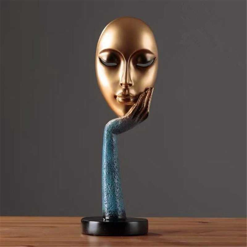 LUDA Modern Human Meditators Abstract Lady Face Character Resin Statues Sculpture Art Crafts Figurine Home Decorative Display