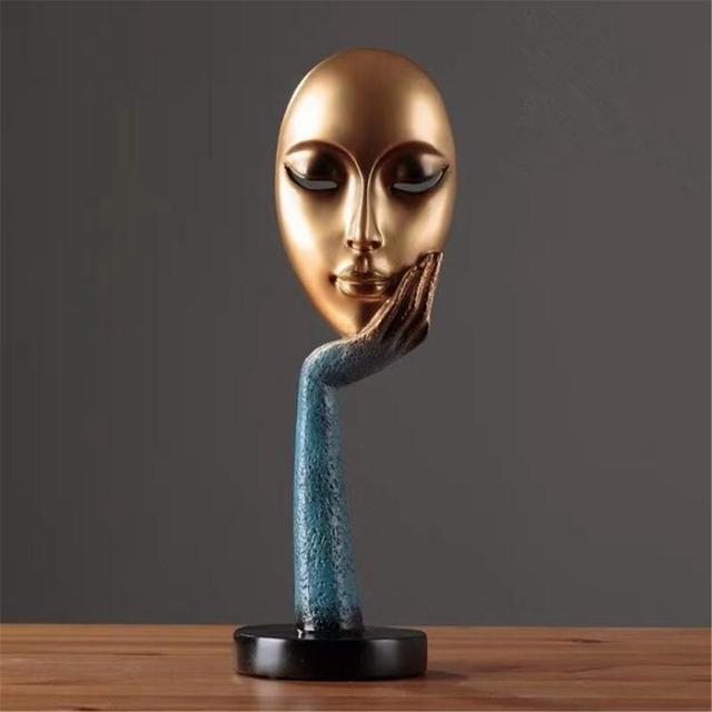 Modern Human Meditators Abstract Lady Face Character Resin Statues Sculpture Art