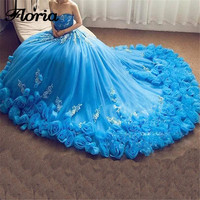 Flower Evening Dresses 2018 Aibye Muslim Sleeveless Formal Prom Dress Turkish Ball Gown Long Train Party Gowns Robe de soiree