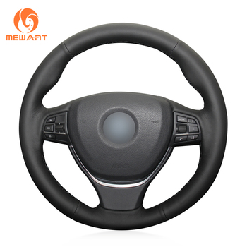 MEWANT Black Leather Steering Wheel Cover for BMW F10 F11 (Touring) F07 (GT) F12 F13 F06 F01 F02