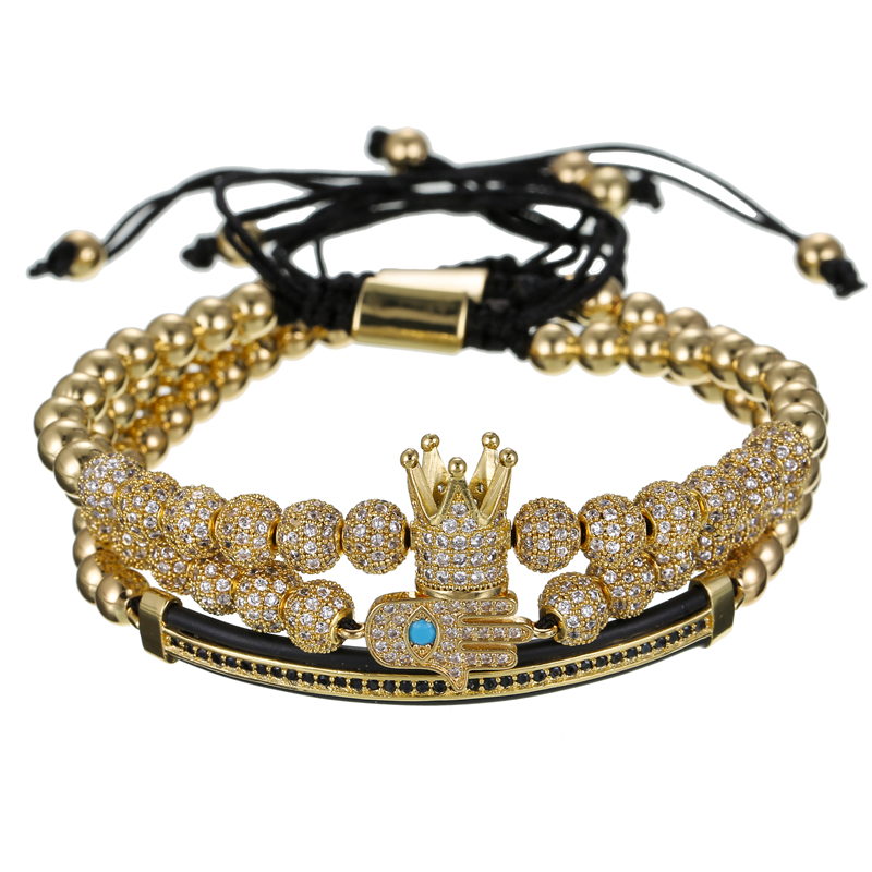 3pcs set 6mm CZ ball Fatima Zircon Charm Bracelets Jewelry Men CZ Imperial Crown Charm Braided