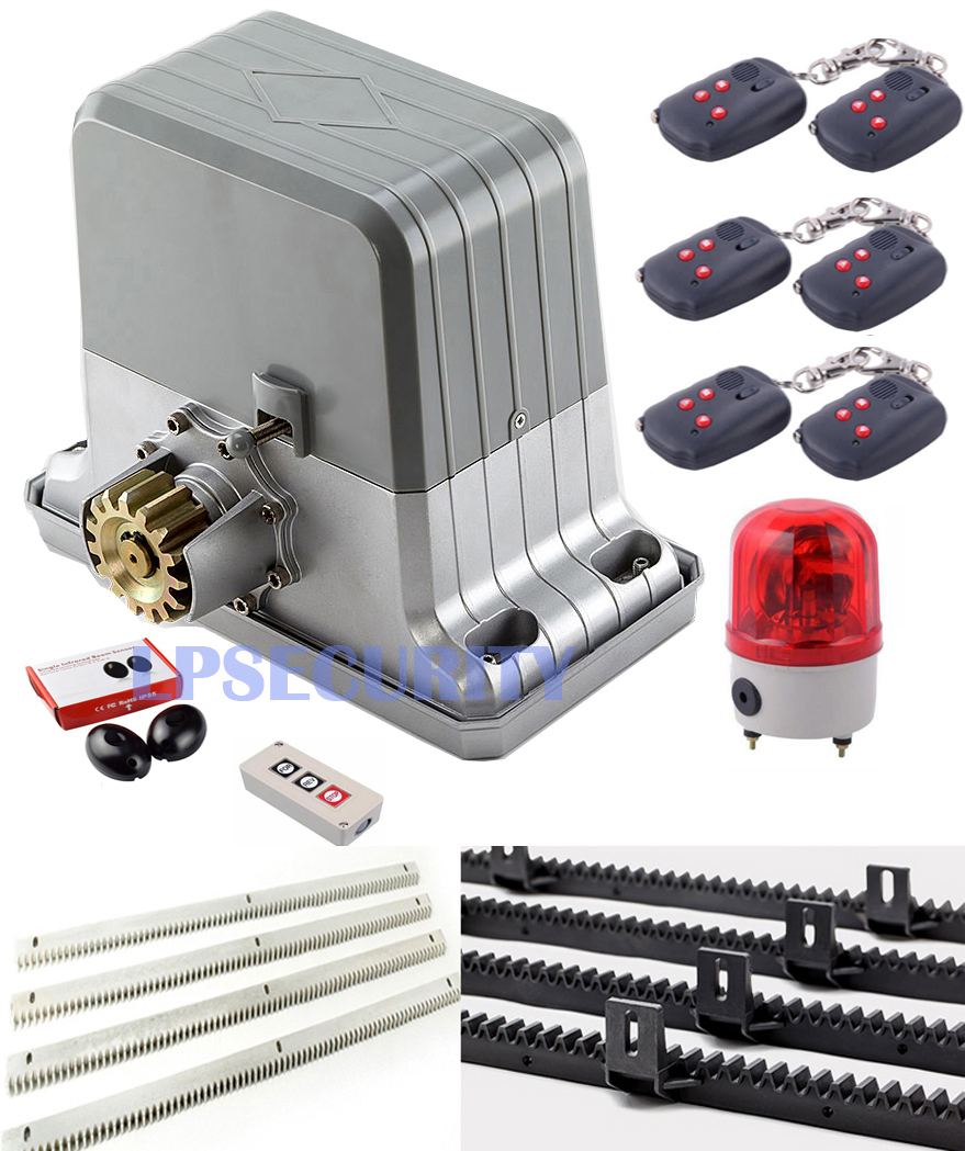DHL free 1800KGS Sliding Gate Motor Heavy Duty Gate Opener with 5m racks(sensor,button,alarm light optional)-in Access Control Kits from Security & Protection