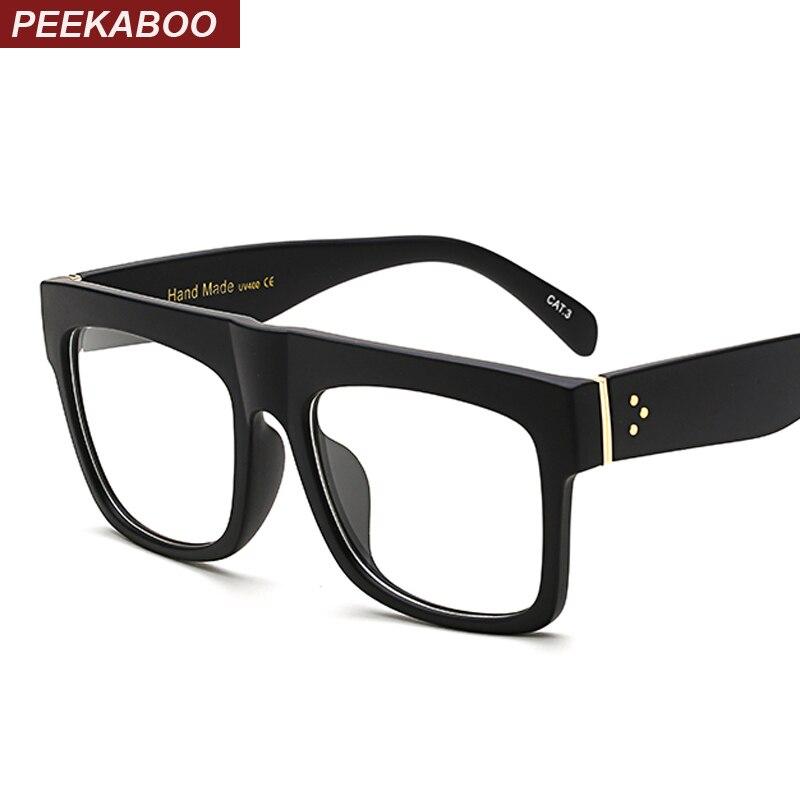 Peekaboo Black Glasses Frames For Men Square Clear Transparent Frame Glasses Women Brand Designer High Quality
