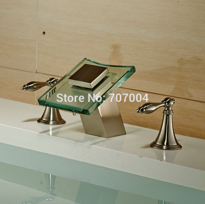 Brushed Nickel Dual Handle Waterfall Basin Sink Mixer Tap 3pcs Glass Spout Bathroom Vessel Sink Faucets