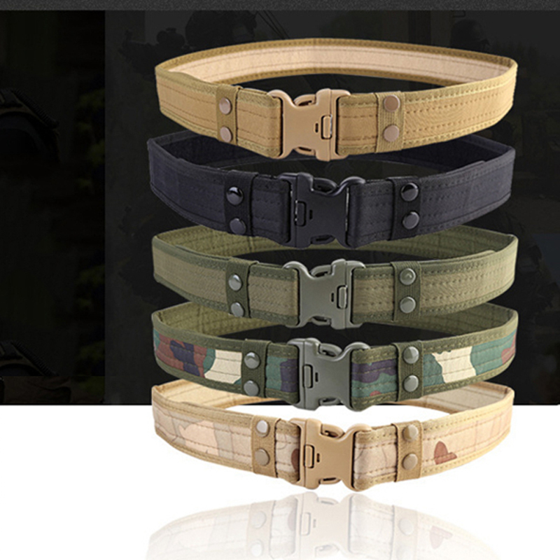 Combat 2 Inch Canvas Duty Tactical Sport Belt with Plastic Buckle Outdoor Military Army Fan Adjustable Hook & Loop Waistband