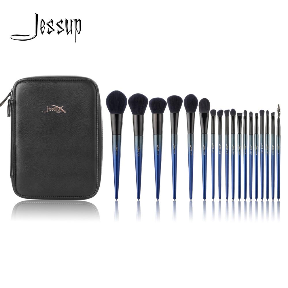 Jessup Make-Up pinsel Neue 18 stücke Make-up pinsel set & 1 stück Kosmetik tasche frauen Pulver Foundation Contour Bleistift lidschatten pinsel
