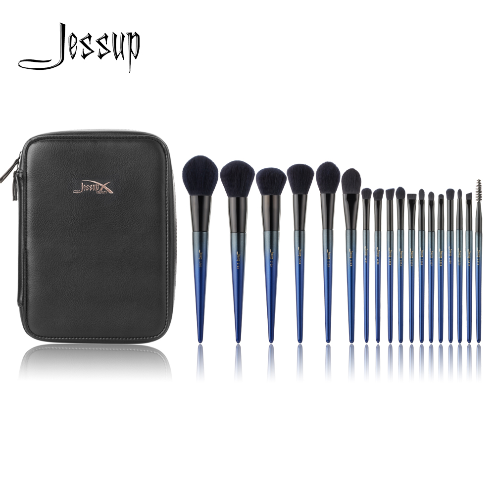 Jessup Makeup brushes New 18pcs Make up brush set & 1PC Cosmetic bag women Powder Foundation Contour Pencil eyeshadow brushes zoreya 18pcs makeup brushes professional make up brushes kits cosmetic brush set powder blush foundation eyebrow brush maquiagem