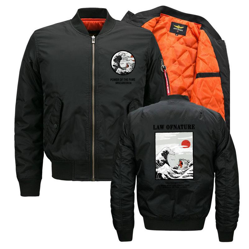 Streetwear japonais MA1 chaqueta hombre militar mode imprimé drôle chat vague vestes hommes femmes bomber hombre manteaux pour vêtements de dessus