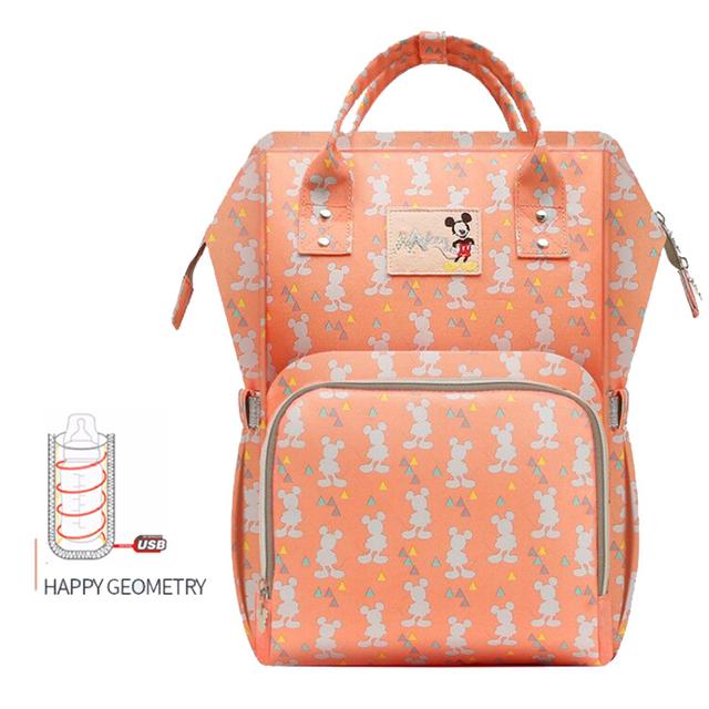 Disney Waterproof Diaper Bag USB Bottle Feeding Travel Backpack