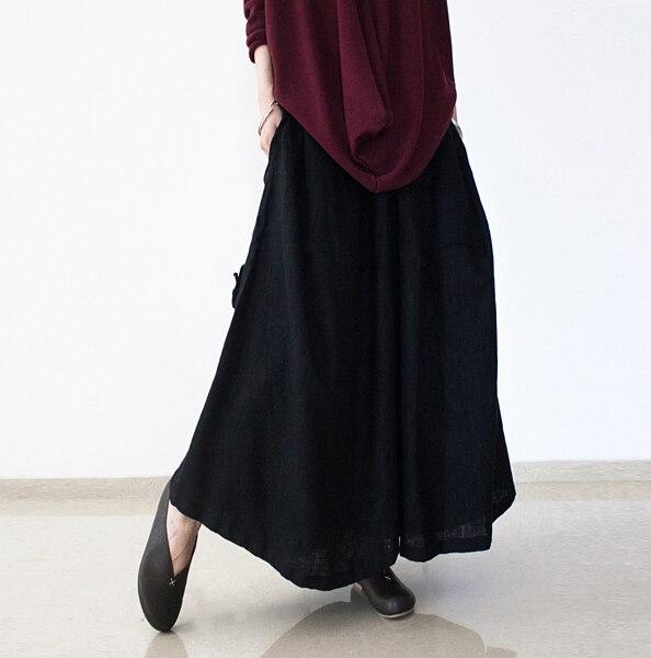 2017 Baru Musim Dingin Cairan perempuan Linen Lebar Kaki Celana Kulot Antik  Teh Celana Bawah Ekspansi 70db78e9f1