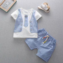 Summer 2009 Style 0-1-2-3-4 Year-old Infants and Young Children Boys Short-sleeved Tie vest Two-piece