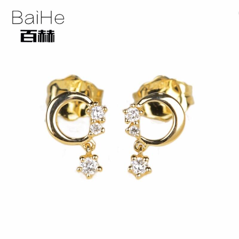 BAIHE Solid 14K Yellow Gold 0.08ct H/SI 100% Genuine Natural Diamond Wedding Trendy Fine Jewelry Elegant Unique Stud Earrings цена