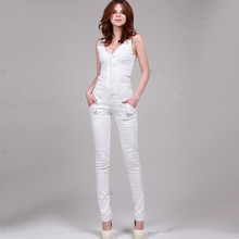 Free Shipping 2017 New Fashion Sexy Double V-neck White Long Romper Pants For Women High Quality Denim Jeans Skinny Jumpsuits L