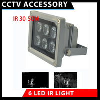 Free Shipping 50M Array IR Illuminator Infrared Lamp 6pcs Array Led IR Light Outdoor Waterproof For