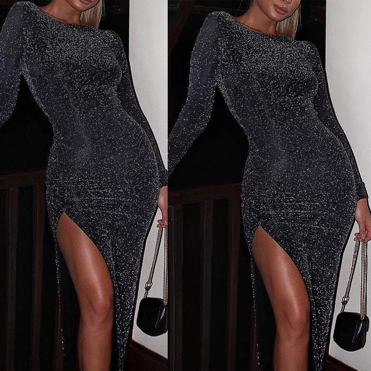 Solid Color Long Party Dress High Slit Glitter Summer Black Club Round Neck Vestidos De Festa Long Sleeve 2019 Bodycon 50j189 in Dresses from Women 39 s Clothing