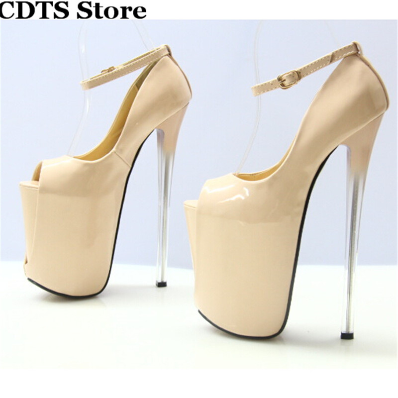 ФОТО Crossdresser Plus size:34-43 Summer 2016 Sandals 22cm thin high heels sexy Peep Toe red club pumps women's wedding shoes