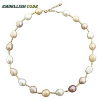 Special Semi Baroque Irregular Pearl Rectangle Beads Necklace Mixed Color White Pink Purple Stely Freshwater Pearls