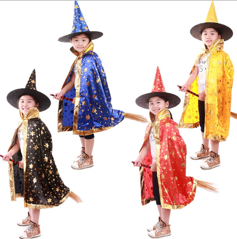 Witch Cloak Children Halloween Group Costume Idea Kids Role Play Funny Robe Pointed Hat Pumpkin Set Festival Gift For Boys Girls