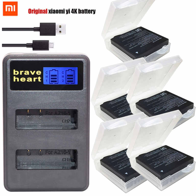 3.85V batterie xiaomi yi 4k Batteries + LCD USB dual charger For Original Xiaomi YI lite 2 4K 4k Xiao yi 4k Action Camera