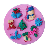 3D Christmas Tree Bell Silicone Snowflake Snowman Cake Candy Mold Bake DIY Tool 10WG