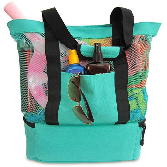 New Easy Carry Outdoor Portable Insulated Cooler Bag Food Picnic Beach Mesh Storage Bags