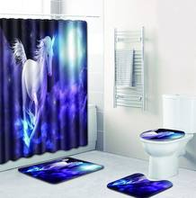 The Unicorn 4pcs/set Set Bathroom Carpet Set In Bath Mats Waterproof Shower Curtain and Rug Sets India Toilet Mat Accessories(China)