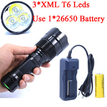 3T6 6000 Lumens Linternas 3 *XML T6 LED Tactical Flashlight Torch Lampe Camping torcia led + Rechargeable 26650 battery charger