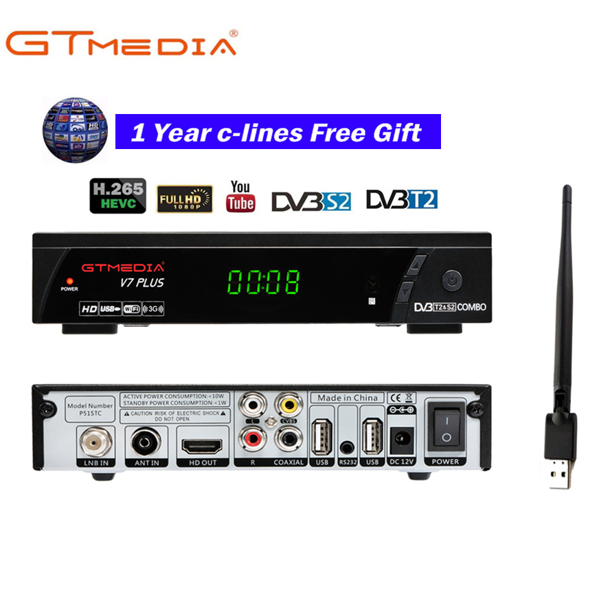 GTMEDIA V7 PLUS 1080P Full  HD DVB S/S2+T/T2, Support H.265 Support YouTube, Youporn via usb Wifi dongle-in Satellite TV Receiver from Consumer Electronics    1