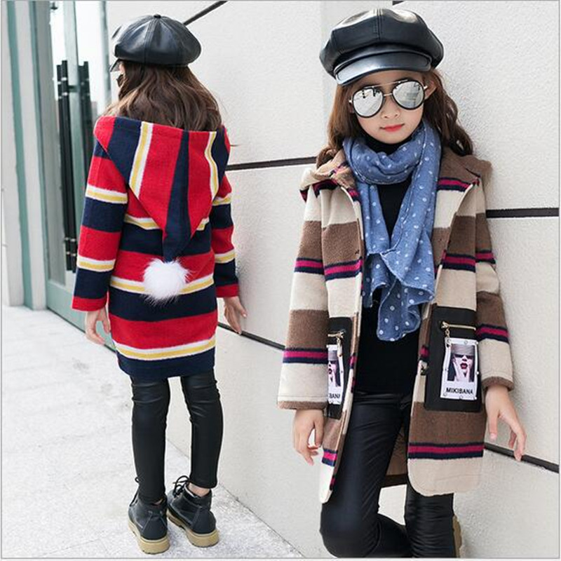 цены на 2017 Brand Girls Autumn Winter Outerwear Children Princess Stripe Trench Coat Girl Cute School Hooded Long Sleeve Christmas Coat в интернет-магазинах