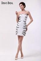 Реальные фотографии Милая декольте рукавов Коктейльные платья бисером прямые короткие платья выпускного вечера
