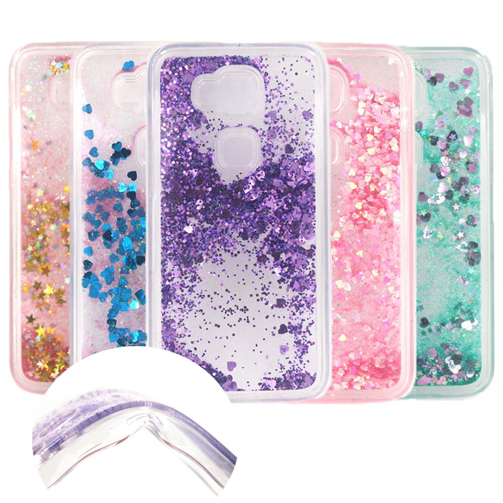 Huawei G8 Dynamic Liquid Glitter Sand Quicksand Star Soft TPU Case For Huawei Ascend G8/ G7 Plus Crystal Clear Back Cover