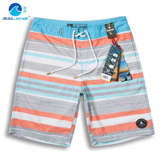 Волны покрытия высокого класса Корейский полосатый пляж брюки мужчины свободные размер досуг летние шорты тонкий брюки пять
