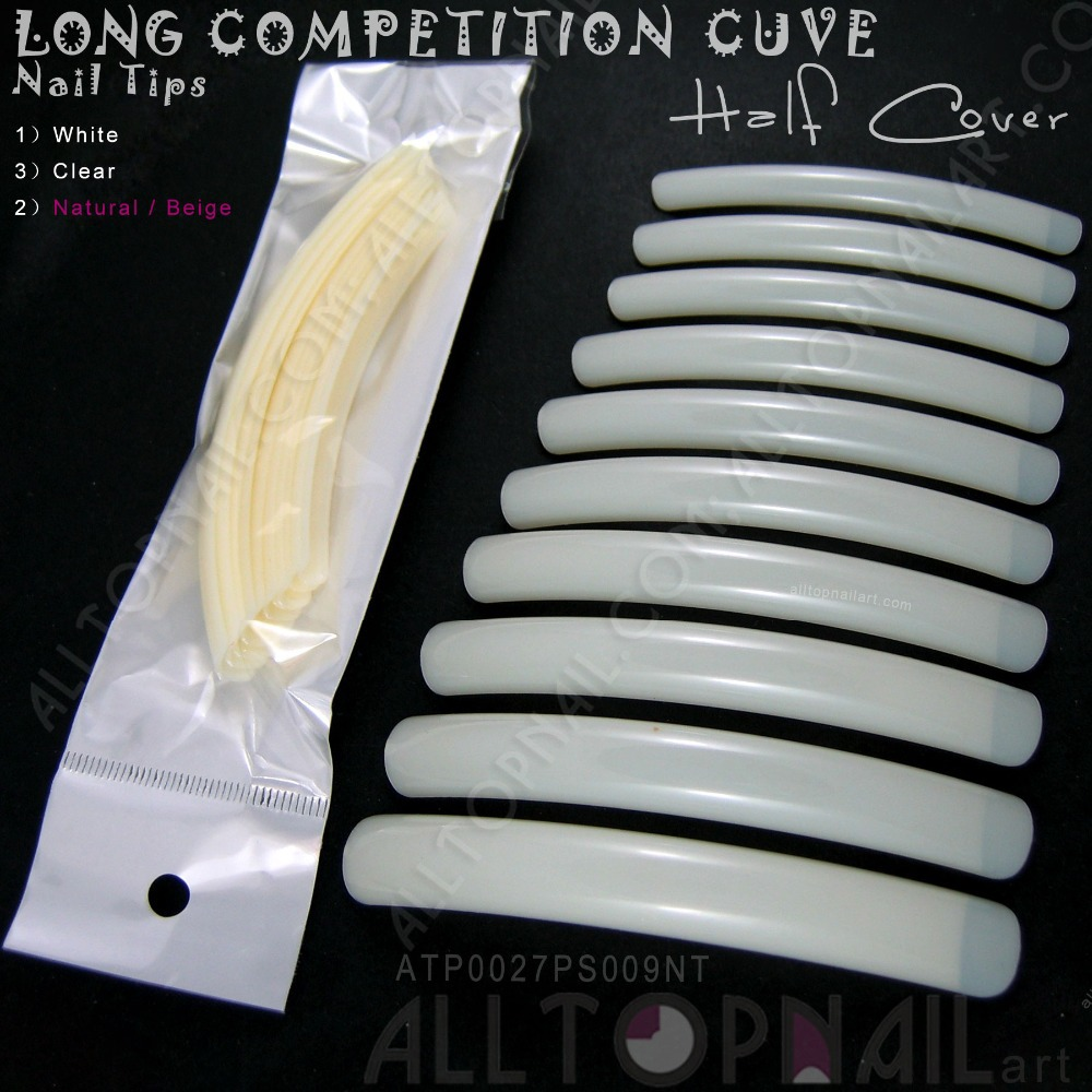 Professional 10pcs/bag French Long Curve Salon Nail Tips Beige ...