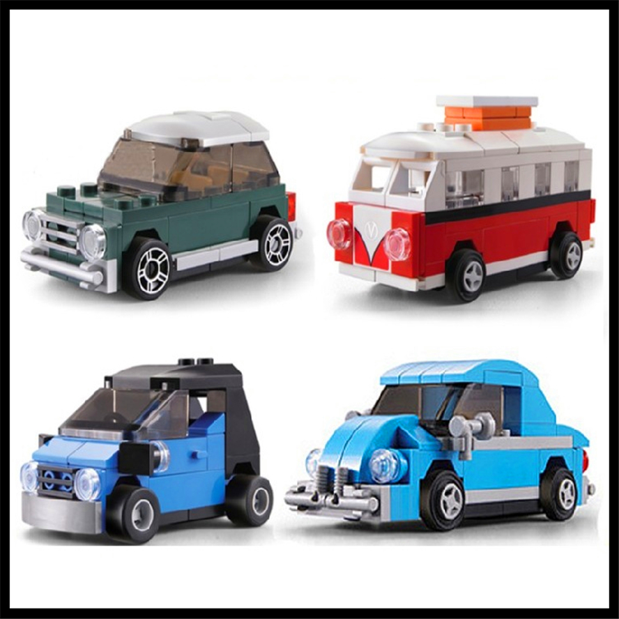 4Pcs/Set City Creator VW Beetle Mini Car Model Building Block Toys KAZI Figure Brinquedos Gift For Children Compatible Legoe loz mini diamond block world famous architecture financial center swfc shangha china city nanoblock model brick educational toys
