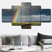 Laeacco Rainbow Modern Canvas Prints Painting Home Decoration Wall Art Paintings Pictures For Living Room Bedroom No Frame