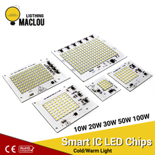 Smart IC LED Chip Lamp SMD 2835 220V 10W 20W 30W 50W 100W Power LED Spotlight Cold/Warm White DIY For Outdoor Floodlight Garden цены