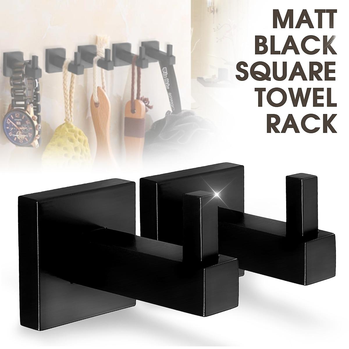 Matte Black Stainless Steel Square Towel Rack Wall Mounted Holder Rail Tissue Roll Toilet Brush Holder Robe Hook Bathroom
