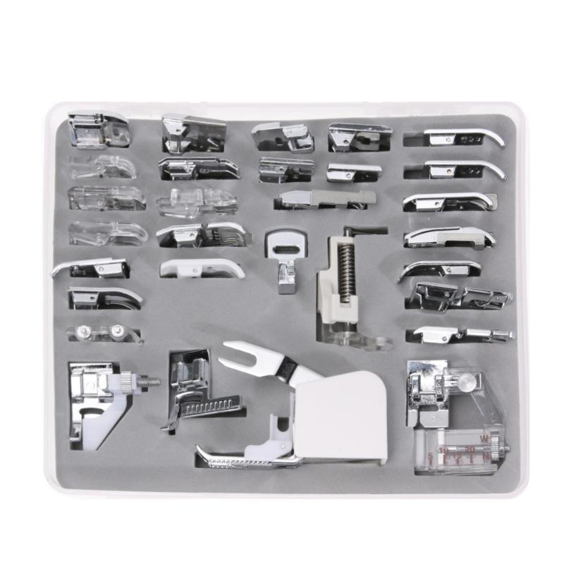 30pcs Mini Domestic Sewing Machine Presser Foot Kit Braiding Blind Stitch Darning Feet Set With Box Joining Parts Set Accessory