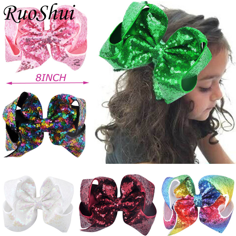 8 inch Big Large Sequin Grosgrain Ribbon Hair Bow Alligator Clips Barrette Bowknot Headwear Children Girls Hair Accessories magic elacstic hair bands big rose decor elastic hairbands hair clips headwear barrette bowknot for women girls accessories