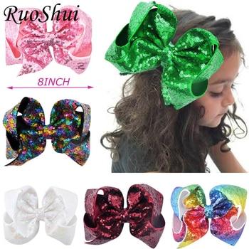 цена на 8 inch Big Large Sequin Grosgrain Ribbon Hair Bow Alligator Clips Barrette Bowknot Headwear Children Girls Hair Accessories