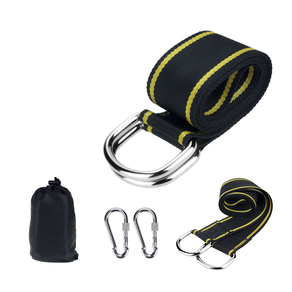 Outdoor 2 Pcs Heavy Duty Tree Swing Hanging Kit Adjustable Hammock Straps With Two Lock Snap Carabiner Hooks