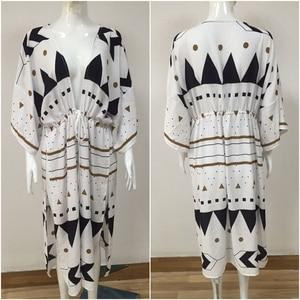 Image 5 - Swimsuit Cover Up 2020 Women Pareo Beach Dress Wears Print Loose Long Dress Beach Cardigan Bathing Suit Beach Cover Ups
