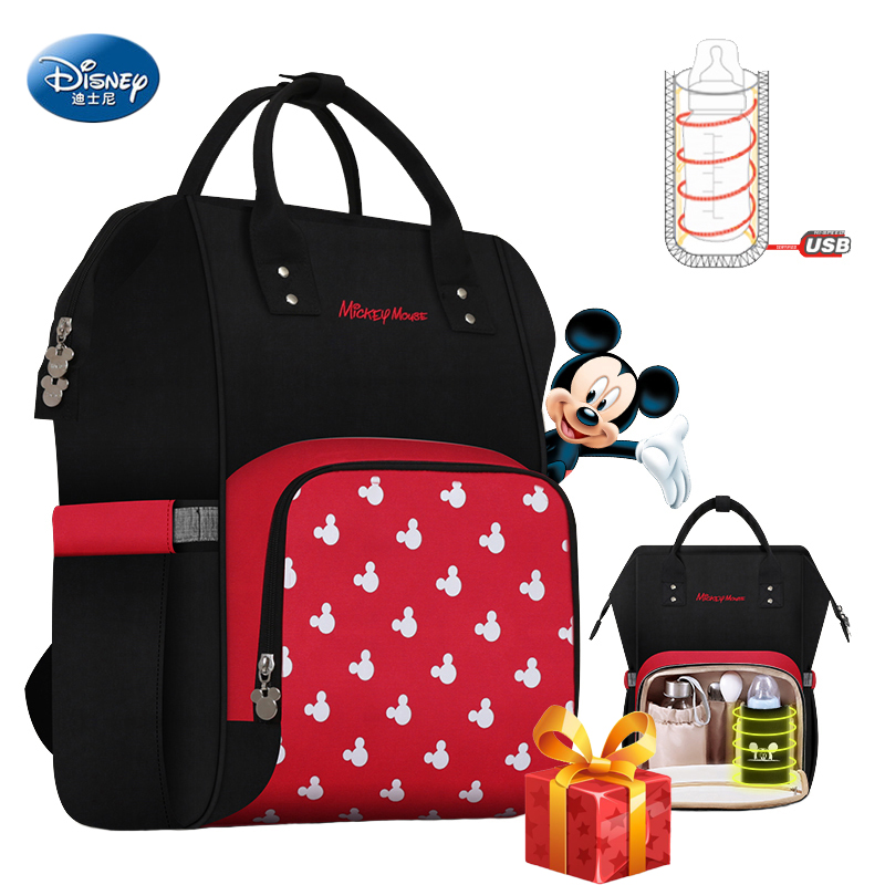 Disney 2019 Diaper Bag Backpack USB Bottle Insulation Bags Minnie Mickey Big Capacity Travel Oxford Feeding Baby Mummy Handbag