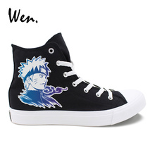 Wen Boys Cosplay Shoes Design Uzumaki Naruto Canvas Sneakers Black White  High Tops Girls Anime Vulcanize